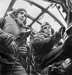 Blenheim navigator and pilot in cockpit